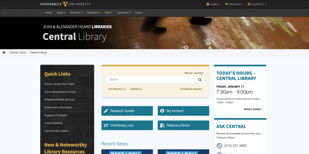 Screenshot of Central Library homepage