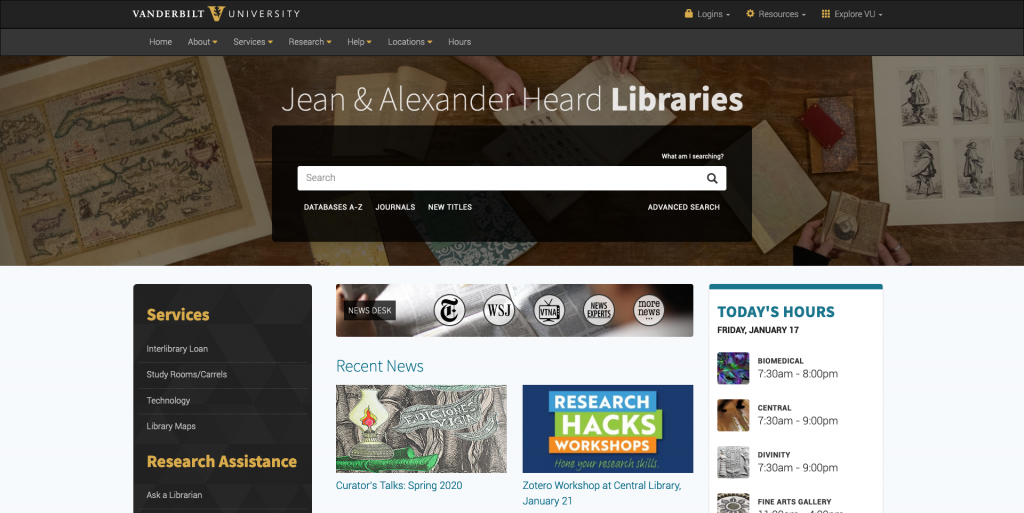 Screenshot of Heard Libraries homepage
